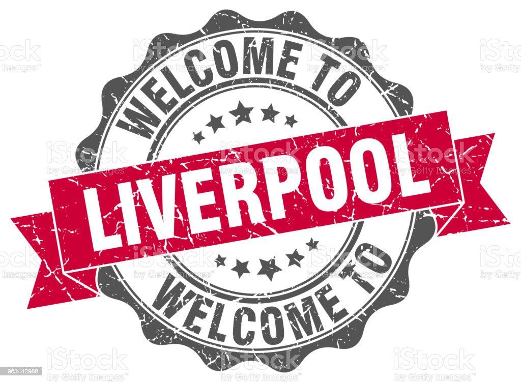Liverpool şerit mühür yuvarlak - Royalty-free Beyaz Arka Fon Vector Art