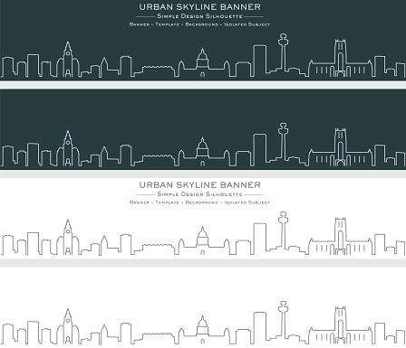 Liverpool Single Line Skyline Banner