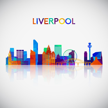Liverpool skyline silhouette in colorful geometric style. Symbol for your design. Vector illustration.