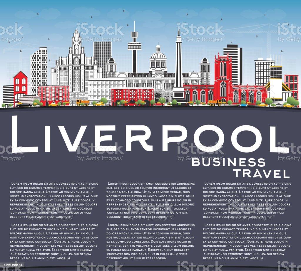 Ilustración de Horizonte De Liverpool Con Edificios De Color Azul ...