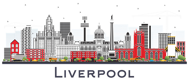 Liverpool Skyline with Color Buildings Isolated on White.