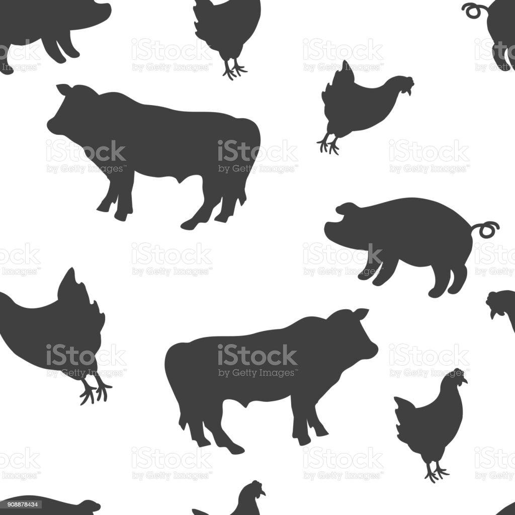 Livestock black and white seamless pattern background vector art illustration