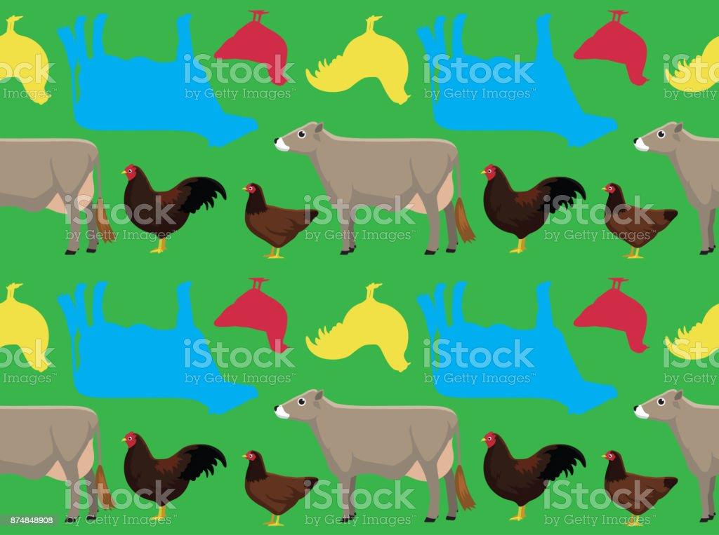 Livestock Buckeye Chicken Cartoon Seamless Wallpaper Stock
