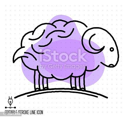 istock Livestock Raising Vector Editable Line Illustration 1215940606