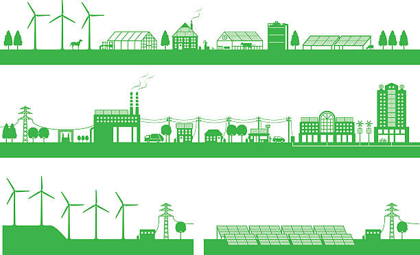 living between city and countryside and playability energy - electrical wiring home stock illustrations, clip art, cartoons, & icons