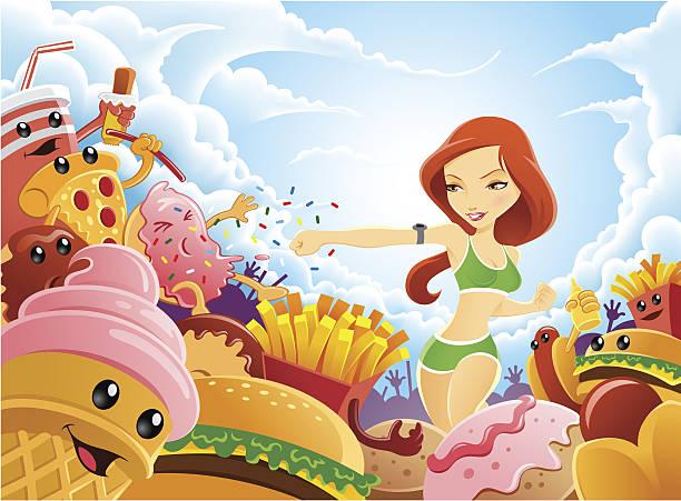 living gesunden lebensstil von kämpfen versuchungen junk food - tortenriegel stock-grafiken, -clipart, -cartoons und -symbole