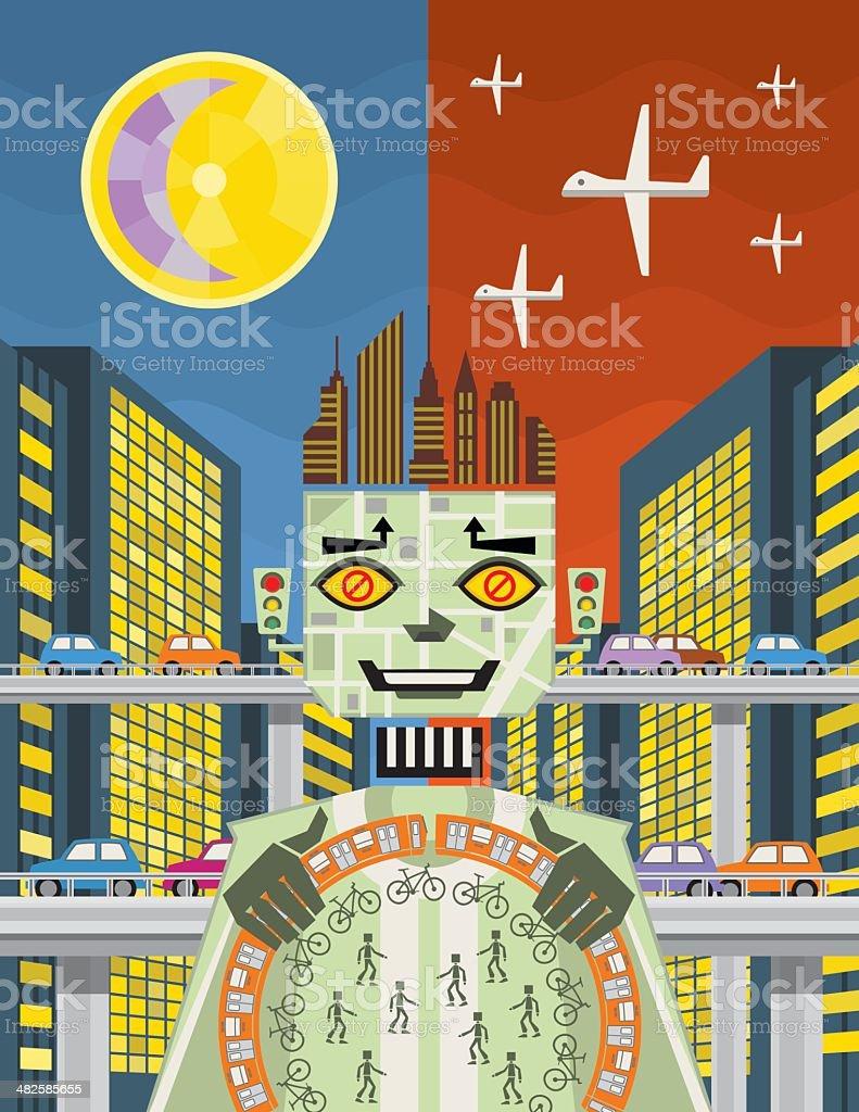 Living in a big city vector art illustration