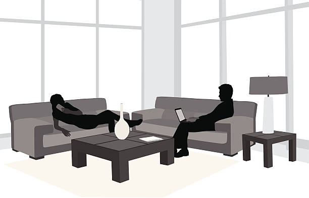 Best Two Women Talking On Couch Illustrations, Royalty-Free Vector ...