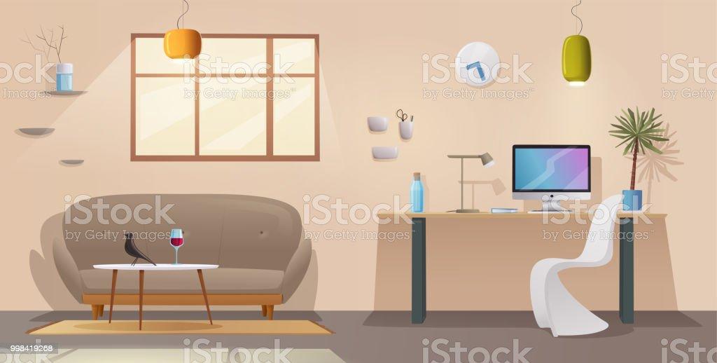Wohnzimmer Und Büroeinrichtung Moderne Wohnung Skandinavisch Oder ...
