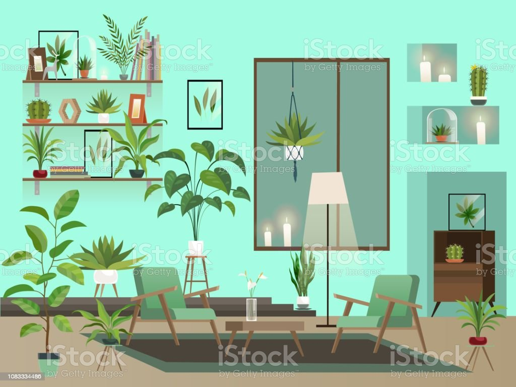 Living room at night. Urban room interior with indoor flowers,...