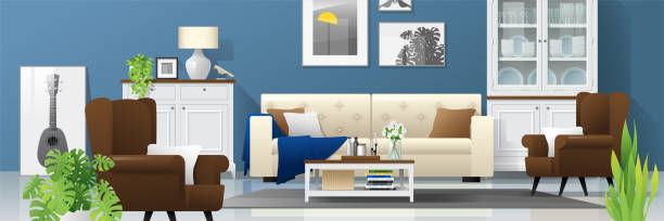 Best Rustic Living Room Illustrations Royalty Free Vector