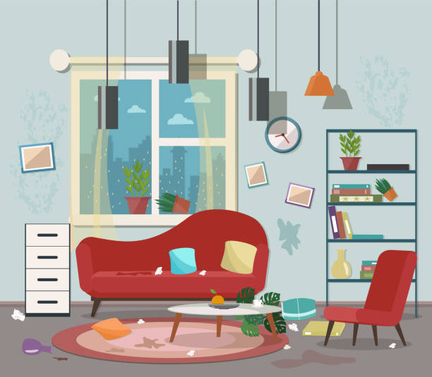 Top Dirty Living Room Clip Art, Vector Graphics And