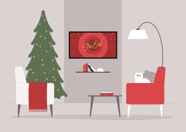 illustrazioni stock, clip art, cartoni animati e icone di tendenza di un soggiorno interior design natalizio, un albero di natale e poltrone, film stagionali, vacanze invernali - christmas movie