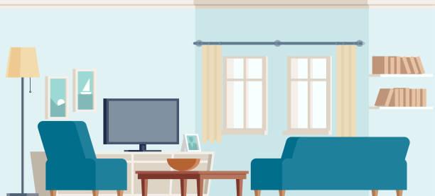 wohnzimmer, couch, sessel, tv, ruhen, fenster, lampe - wohnzimmer gemütlich stock-grafiken, -clipart, -cartoons und -symbole
