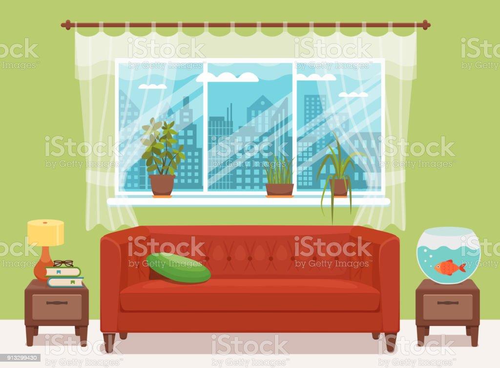 Wohnzimmer Gemütliches Interieur Mit Bunten Sofa, Kissen, Nachttisch,  Aquarium Lampe. Lizenzfreies Wohnzimmer