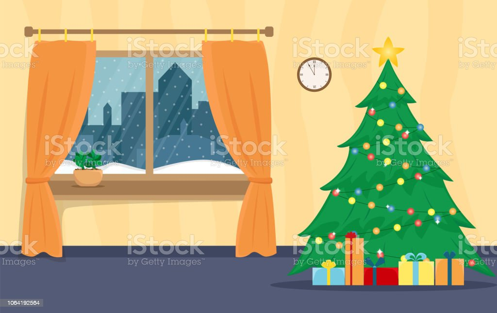 Living Room Decorated For The New Year Christmas Window Flat Cartoon