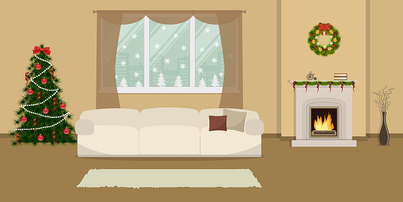 Living room, decorated with Christmas decoration
