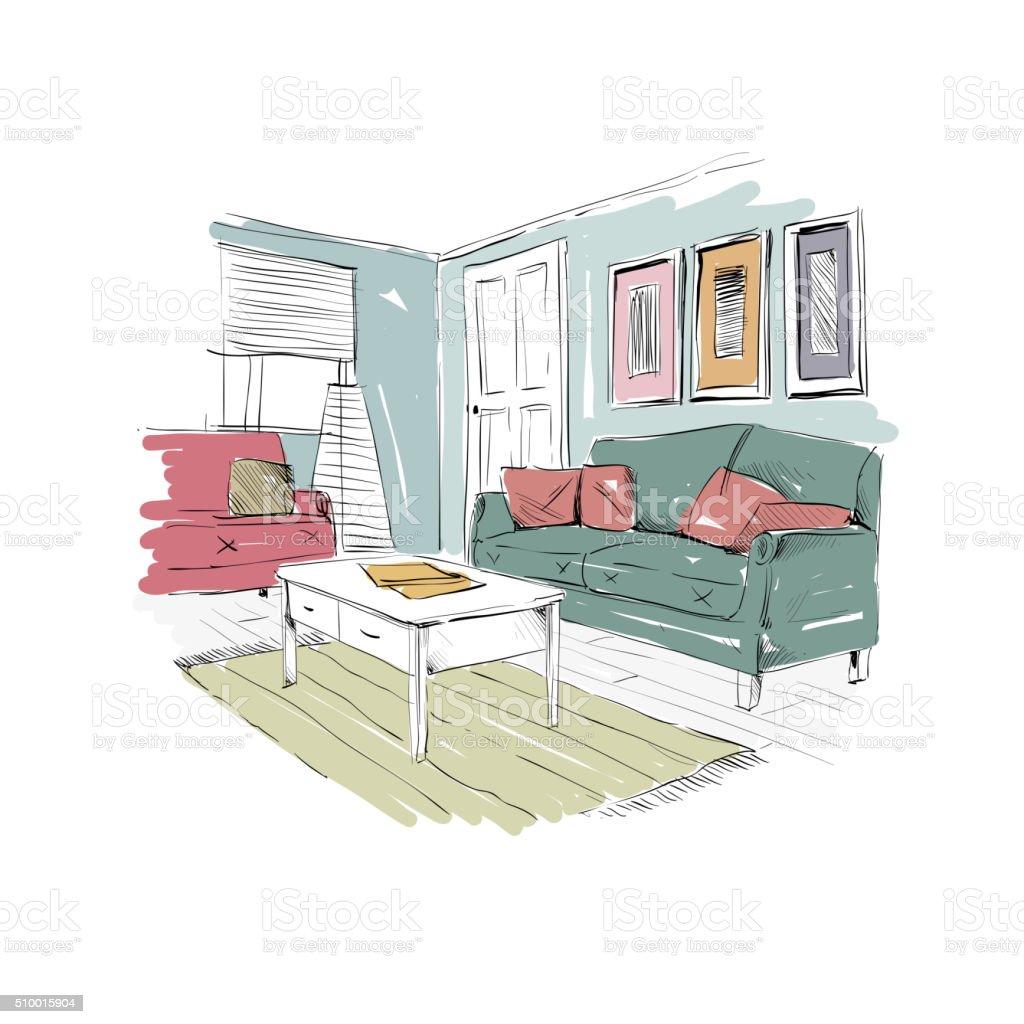 Living room design interior sketch. Hand drawn vector illustration vector art illustration
