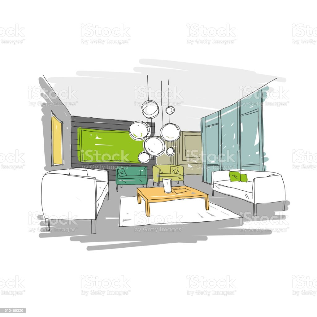 Living room design interior sketch. Hand drawn vector illustration vector art illustration