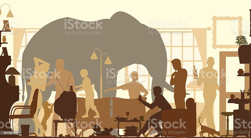 Living room elephant vector art illustration