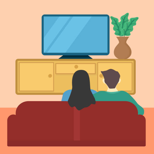 living room family watch TV vector design of illustration activity family watching tv stock illustrations
