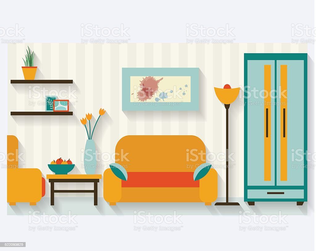 Living Room Flat Illustration Stock Vector Art & More Images of ...