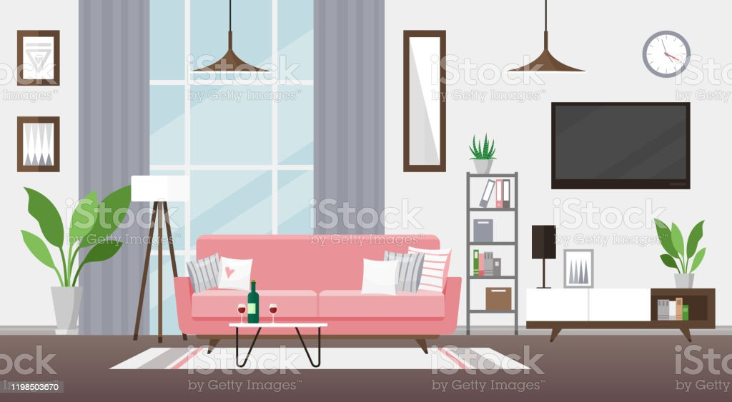 Living Room Flat Vector Illustration Modern Detailed Interior Design Room With Pink Couch Tv Bookshelf Cozy Apartment Flat With Big Windows And Potted Flowerscoffee Table With Wine Glasses Stock Illustration Download