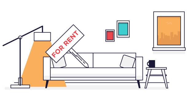 Living room for rent vector art illustration