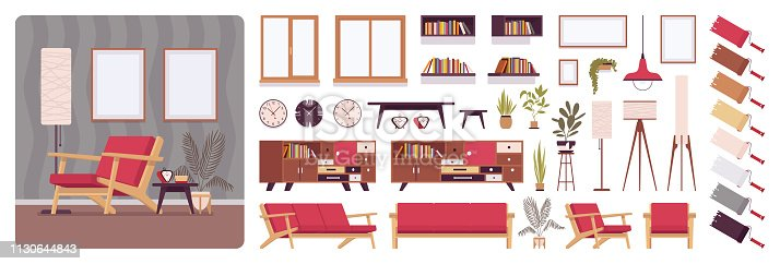 Living room full home interior design, office creation kit, lounge set with furniture, different constructor elements to build own image. Cartoon flat style infographic illustration with color palette