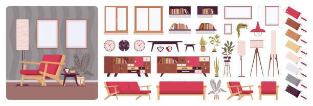 ilustrações, clipart, desenhos animados e ícones de sala cheia para casa design de interiores, kit de criação do escritório - landscape creation kit