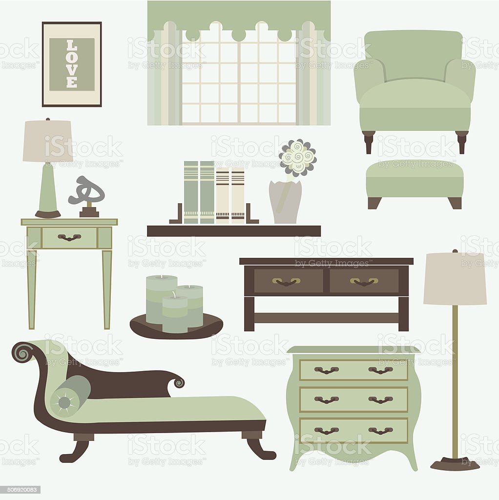 Living Room Furniture And Accessories In Color Teal Stock Vector Art ...