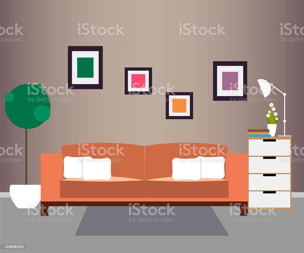 Wohnzimmer Mobel Und Wohnaccessoires Stock Vektor Art Und Mehr