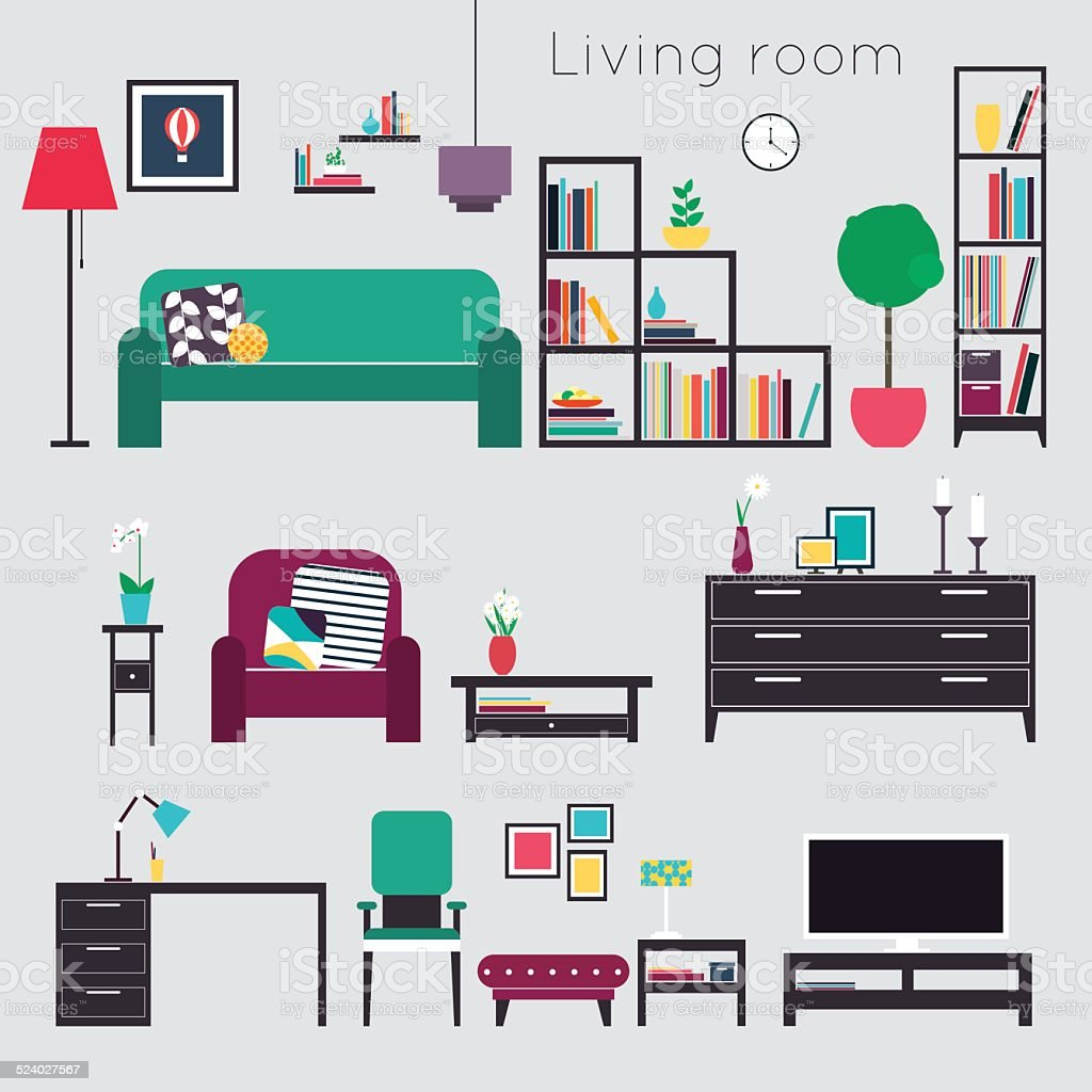 Living Room Furniture And Home Accessories Stock Vector Art & More ...