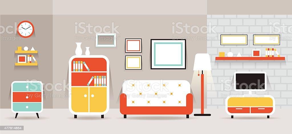 Living Room Furniture Display Panorama Royalty Free Stock Vector Art