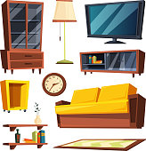 Living room furniture items. Vector illustrations in cartoon style. Sofa and table, comfortable and cozy seat