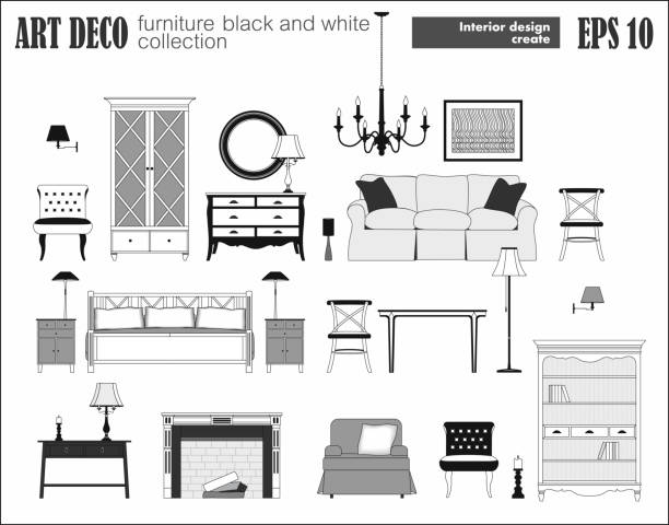Royalty Free Art Deco Living Room Clip Art, Vector Images ...
