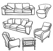 Several pieces of living room furniture