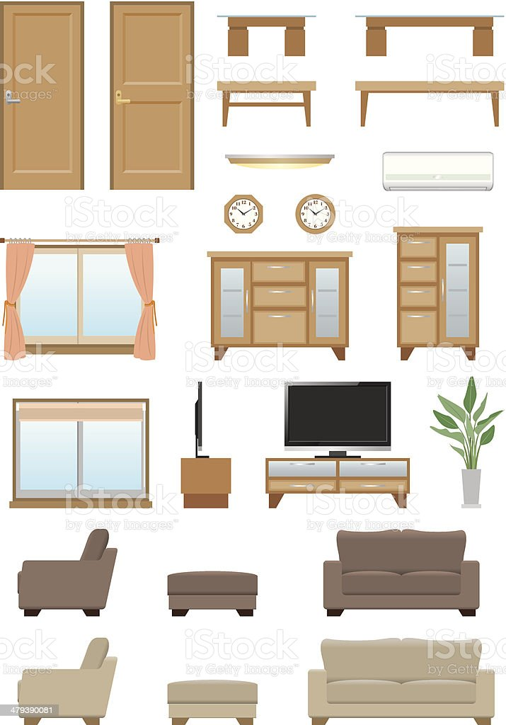 Living room furniture vector art illustration