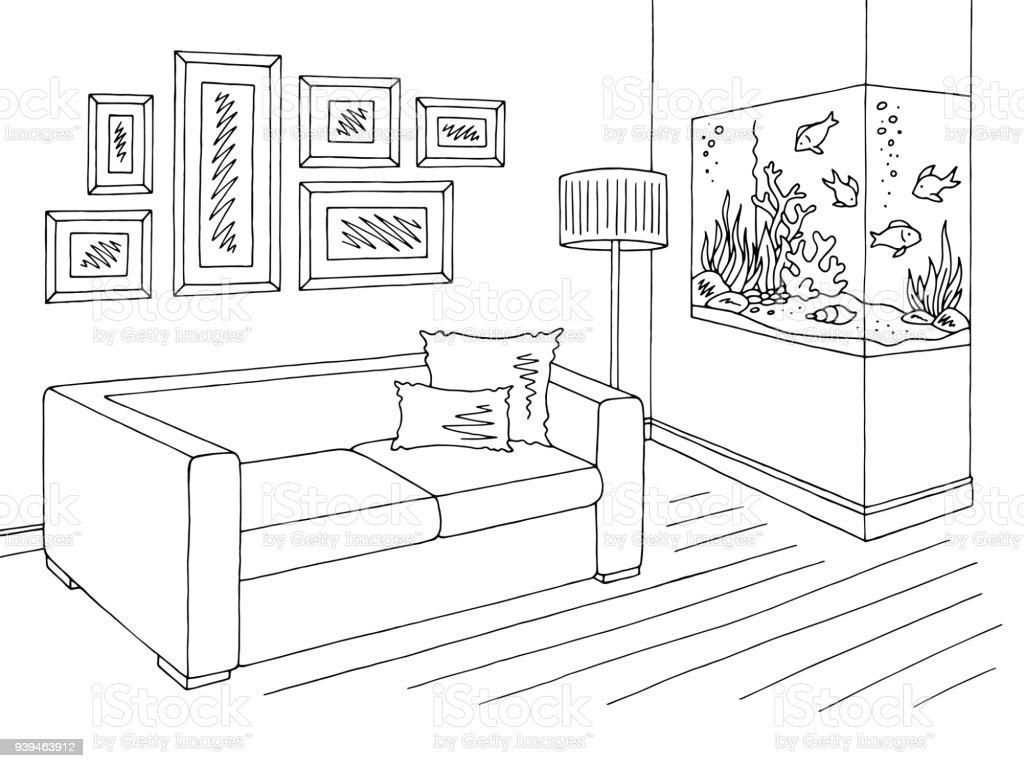Wohnzimmer Grafik Schwarz Weißen Aquarium Innen Skizze Abbildung Vektor  Lizenzfreies Wohnzimmer Grafik Schwarz Weißen Aquarium Innen