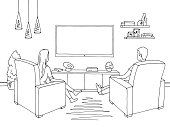 Living room graphic black white home interior. Woman and man sketch siting watching television illustration vector