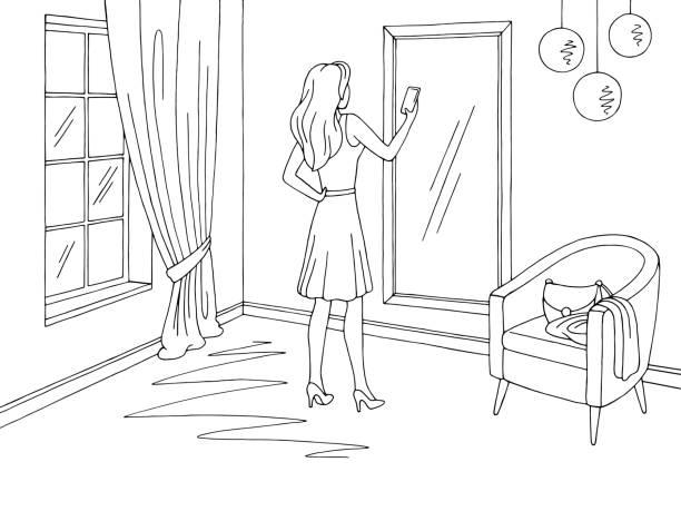 stockillustraties, clipart, cartoons en iconen met woonkamer grafisch zwart wit interieur schets illustratie vector vrouw maken selfie voor een spiegel - photography curtains