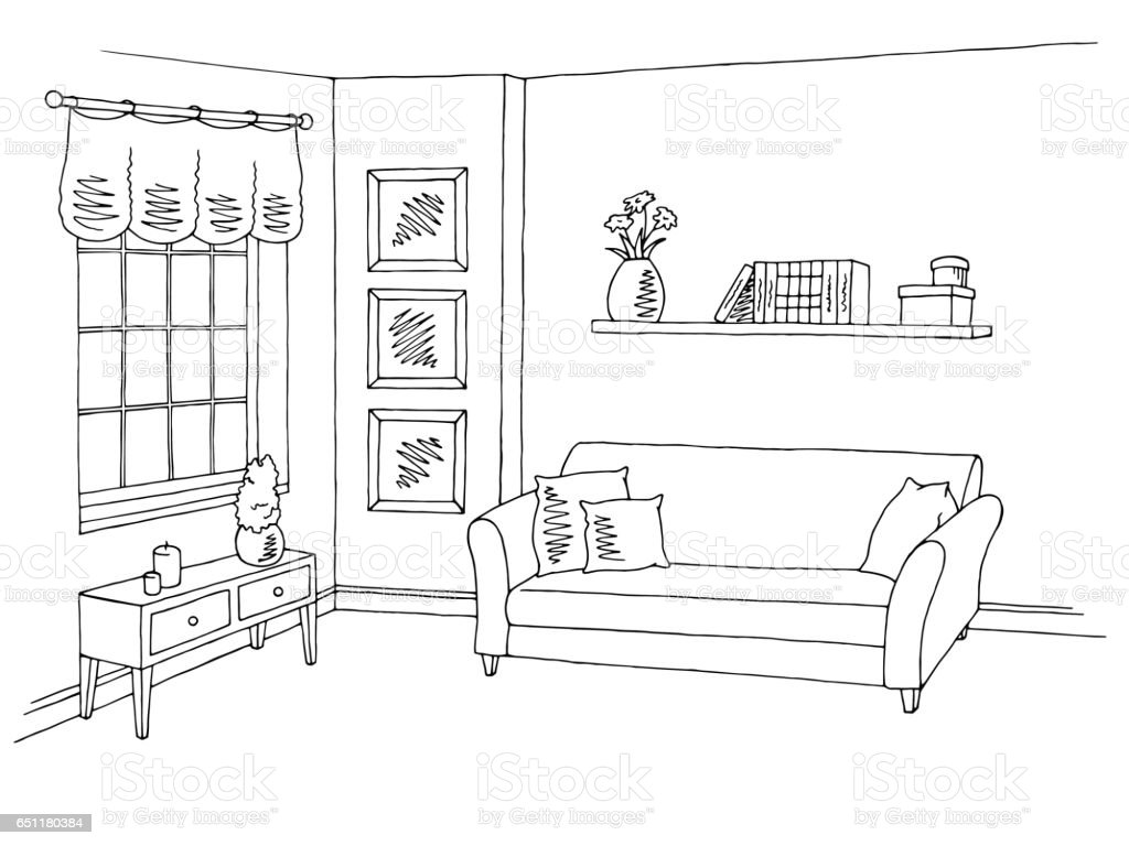 Living room graphic black white interior sketch illustration vector vector art illustration