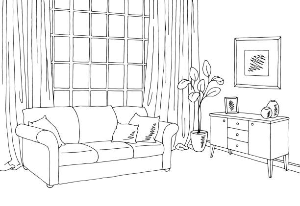 Room Clip Art: Living Room Interior Graphic Black White Sketch