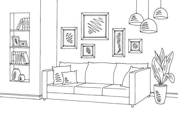 stockillustraties, clipart, cartoons en iconen met woonkamer: grafisch zwart wit interieur sketch illustratie vector - interior design