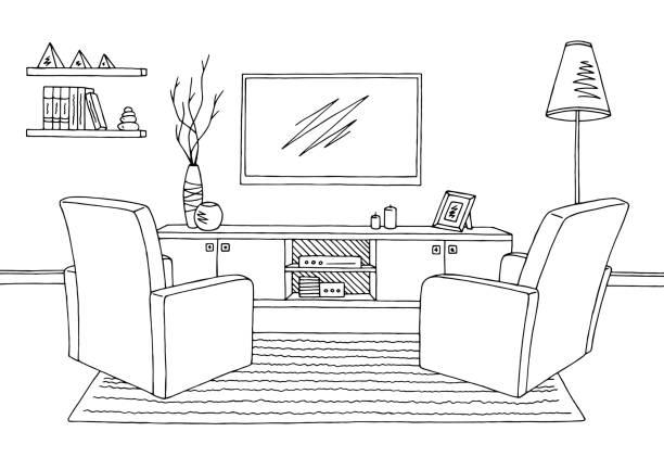 Living room sketch shelf furniture istock for Living room outline
