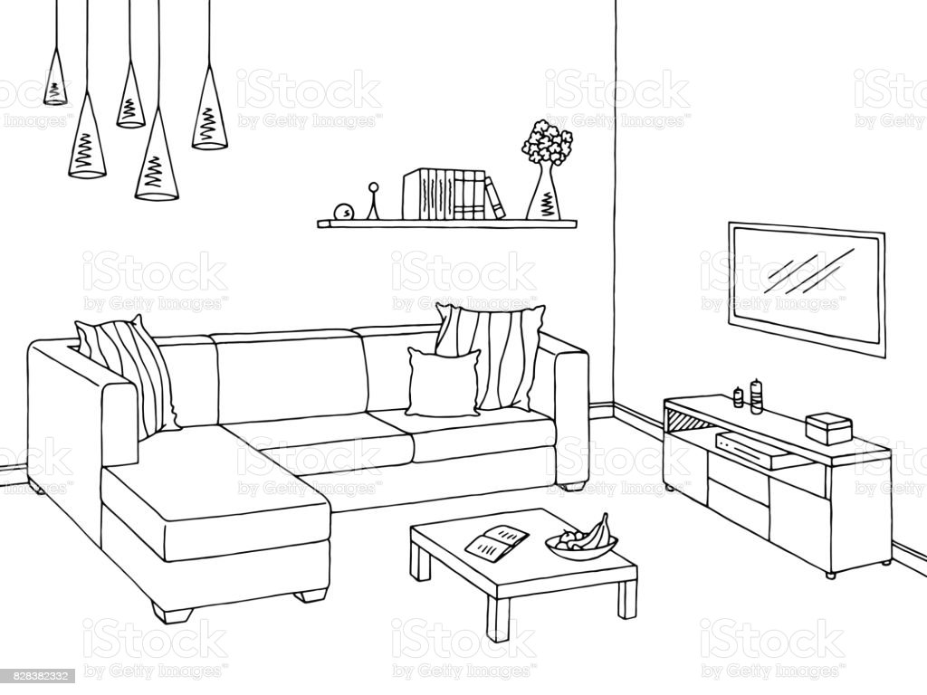 royalty free graphical drawing of the interior of a homes