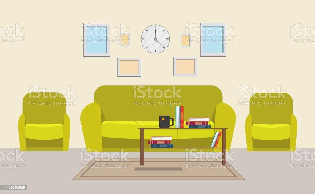 Wohnzimmer Haus Grosse Set Vektorillustration Moderne Wohnung Stock
