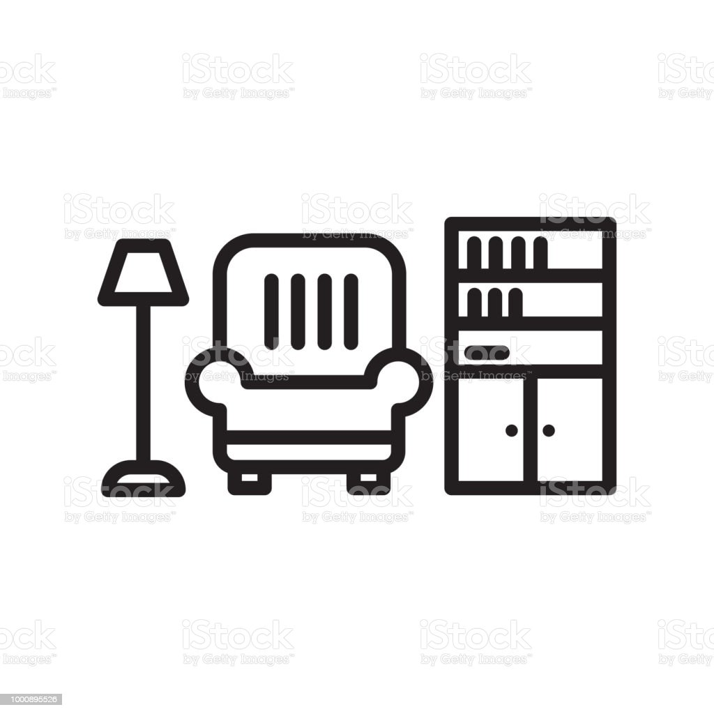 Living Room Icon Vector Sign And Symbol Isolated On White Background,  Living Room Logo Concept