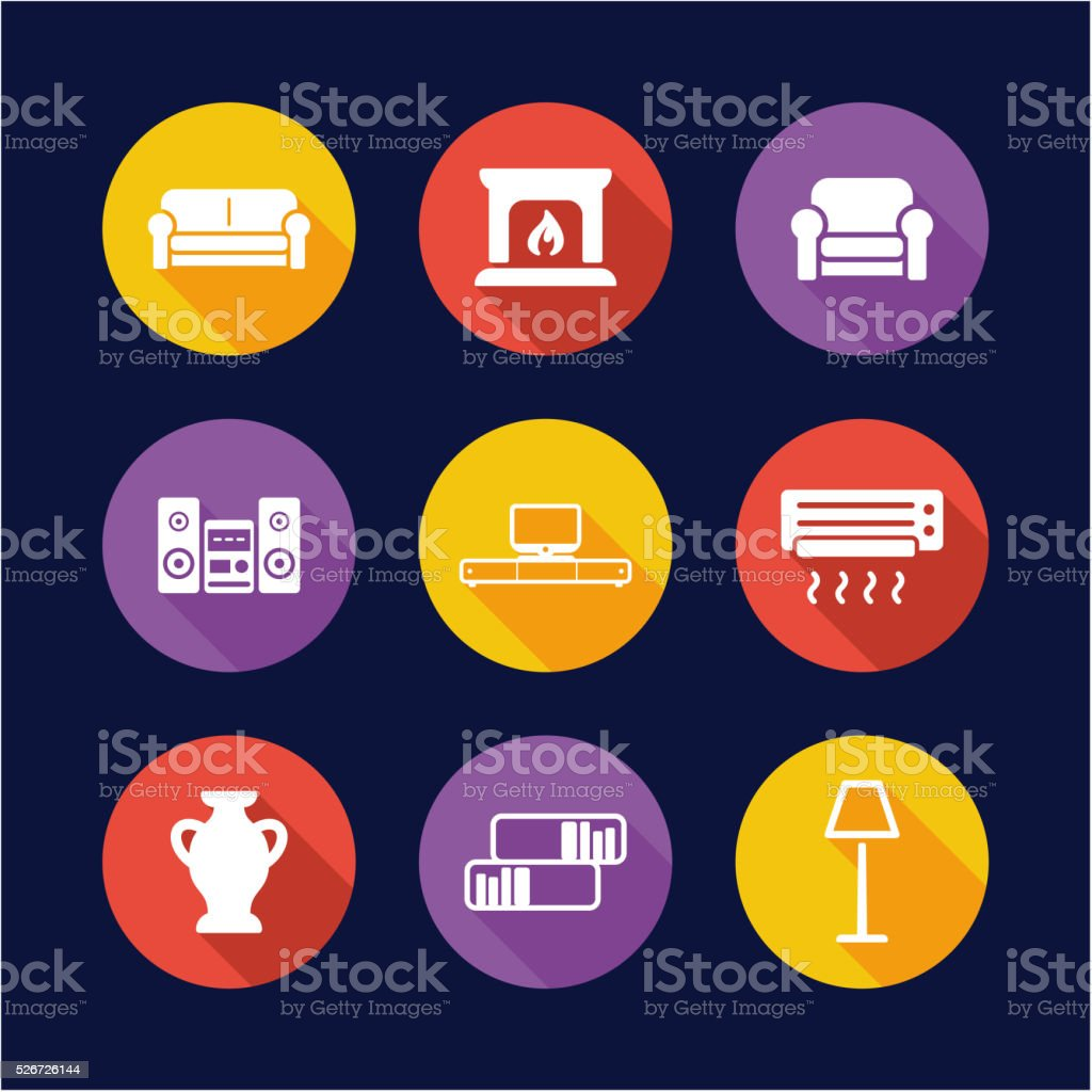 Living Room Icons Flat Design Circle vector art illustration