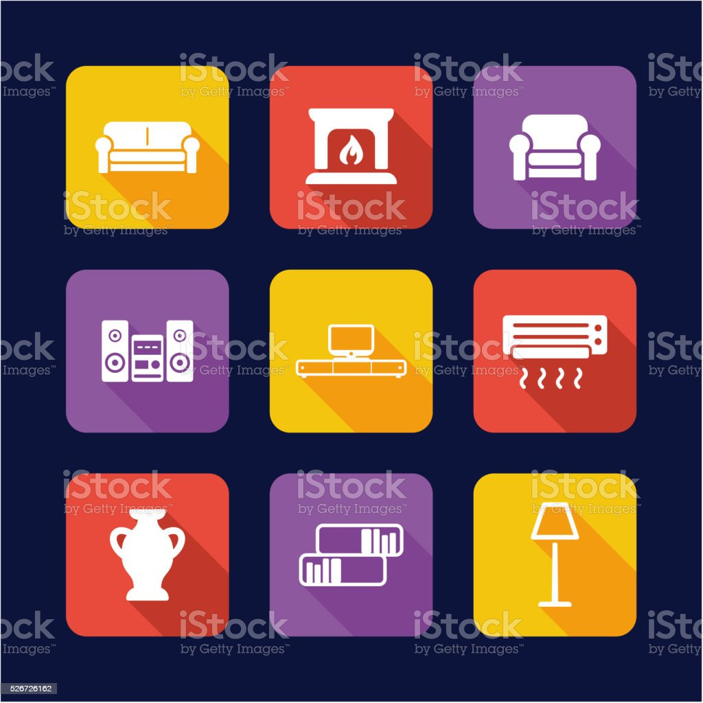 Living Room Icons Flat Design vector art illustration